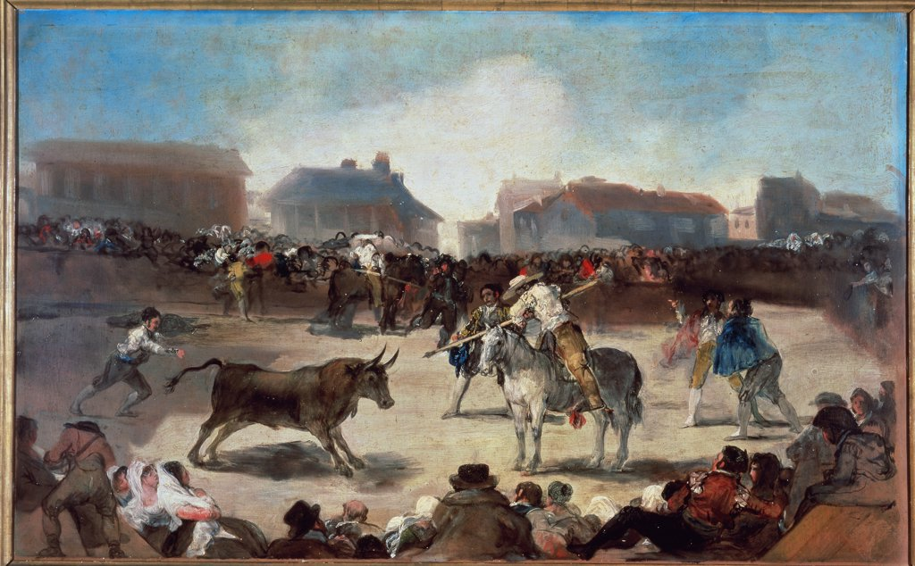 Stock Photo: 1030-542 La Corrida De Taureaux Dans Un Village