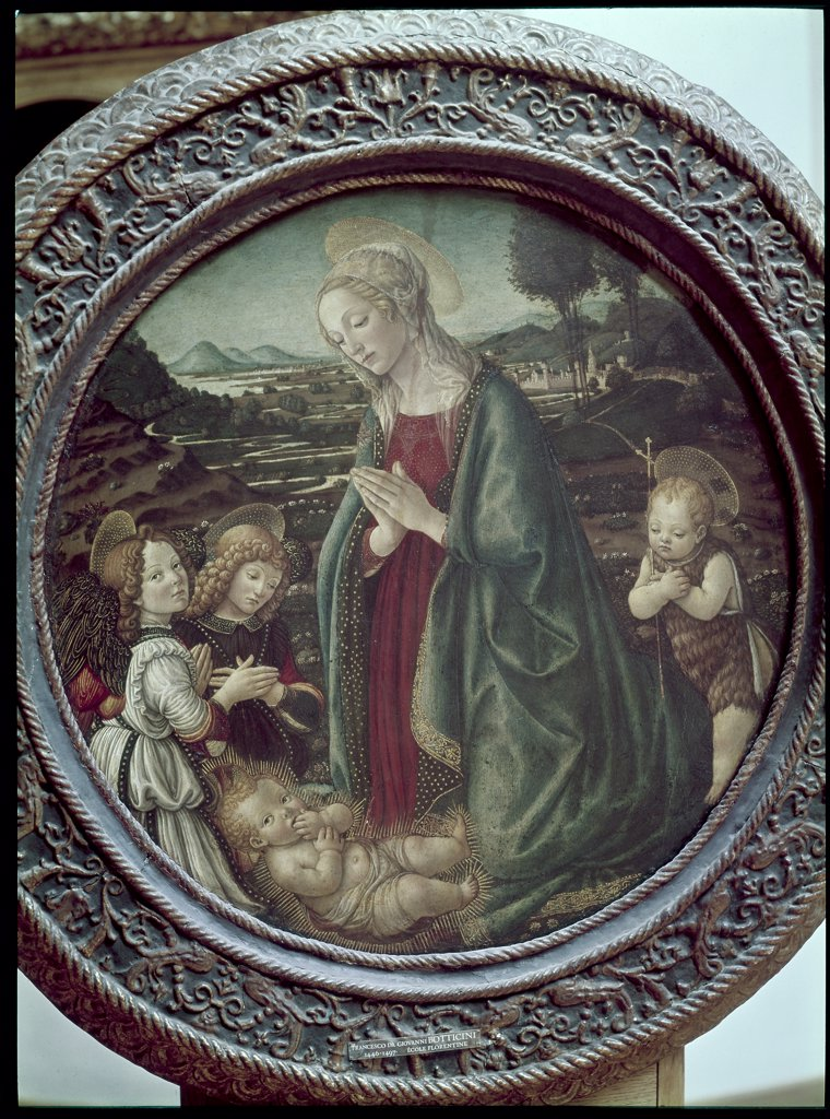 Stock Photo: 1030-611 The Virgin Adoring Christ with the Miniature Saint Jean and Two Angels