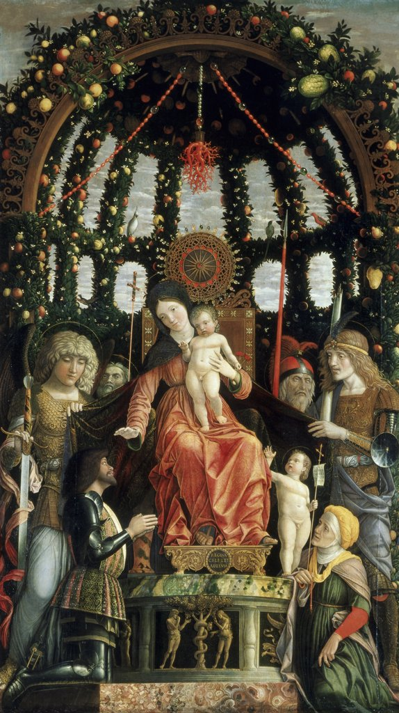 Stock Photo: 1030-614 Virgin and Child Surrounded by 6 Saints (Michael, Andrew, Luke, George, Anne, or Elizabeth & Infant)