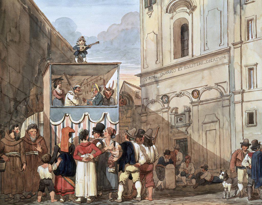 Stock Photo: 1030-656 Theatre De Marionnettes Theater Of Marionettes Achille Pinelli (1809-1841 Italian) Watercolor Museo di Roma, Palazzo Braschi, Rome, Italy