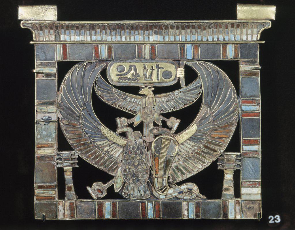 Stock Photo: 1030-684 Pectoral de Ramses II - Pectoral Of Ramses II Ramesside XIX Eme Dynasty Circa 1314-1200 B.C. Egyptian Art Lapis-Lazuli Musee du Louvre, Paris, France