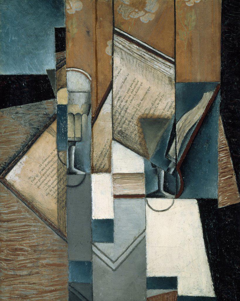 The Book 1913 Juan Gris (1887-1927 Spanish) Oil on canvas Musee d'Art Moderne de la Ville de Paris, France : Stock Photo