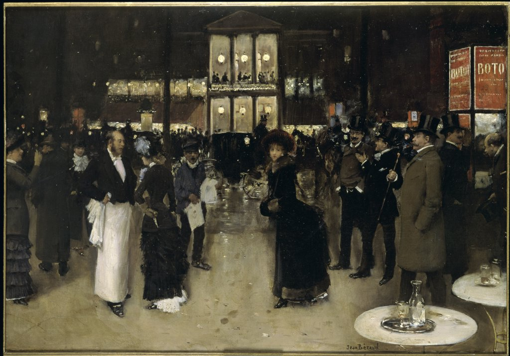 Stock Photo: 1030-932 The Boulevard at Night in Front of the Theater des Varietes