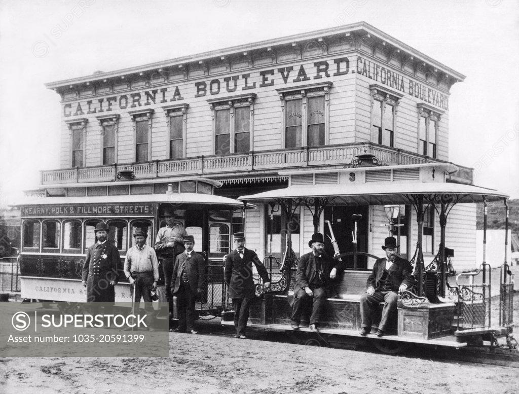 Stock Photo: 1035-20591399 San Francisco, California:  c. 1890 The California Street cable car that made stops at Kearny, Polk and Filmore Streets.