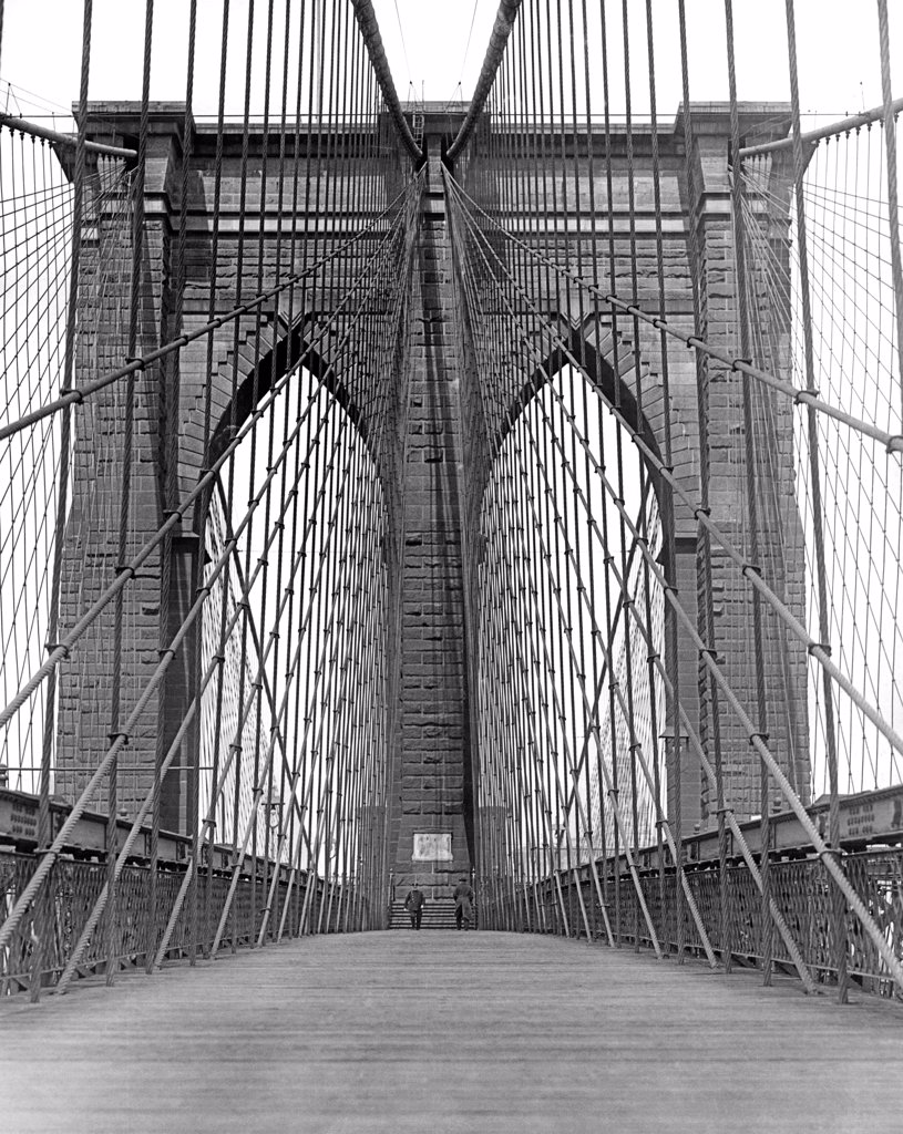 New York, New York:  c. 1926. A striking view of the Promenade over the famous Brooklyn Bridge. The bridge was completed in 1883 at a total cost of 25 million dollars. : Stock Photo