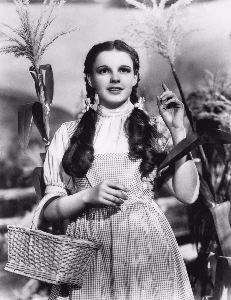 Stock Photo: 1035-11582 Hollywood, California:  1939. Judy Garland begins her journey in the Wizard of Oz.