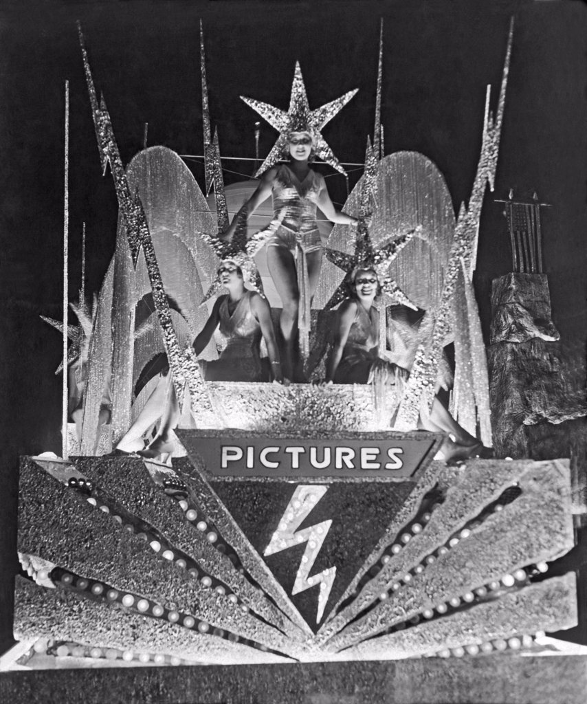 Stock Photo: 1035-11608 Los Angeles, California:  1931. The Spirit of Hollywood as seen at the Carnival of Jewels at the sesqui-centenial La Fiesta.