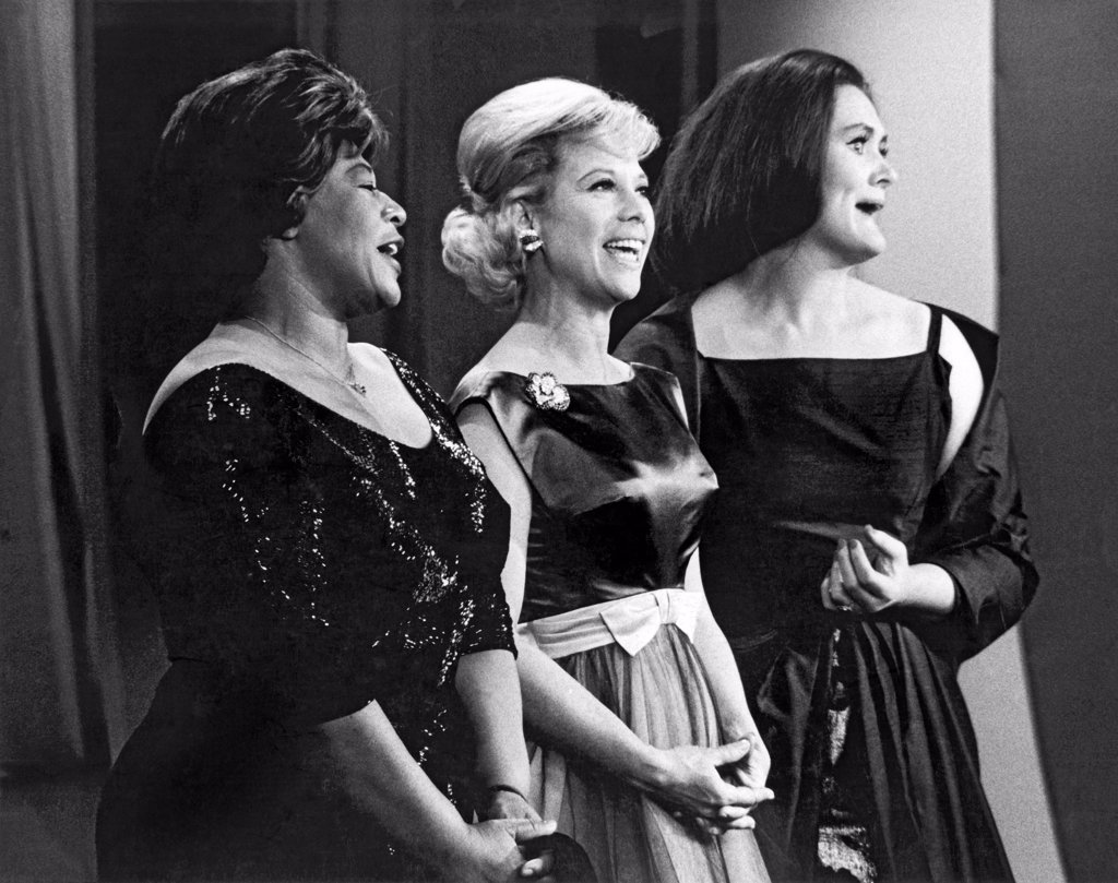 New York, New York:  1963. L-R: Ella Fitzgerald, Dinah Shore, Joan Sutherland perform on the Dinah Shore Chevy Show, : Stock Photo