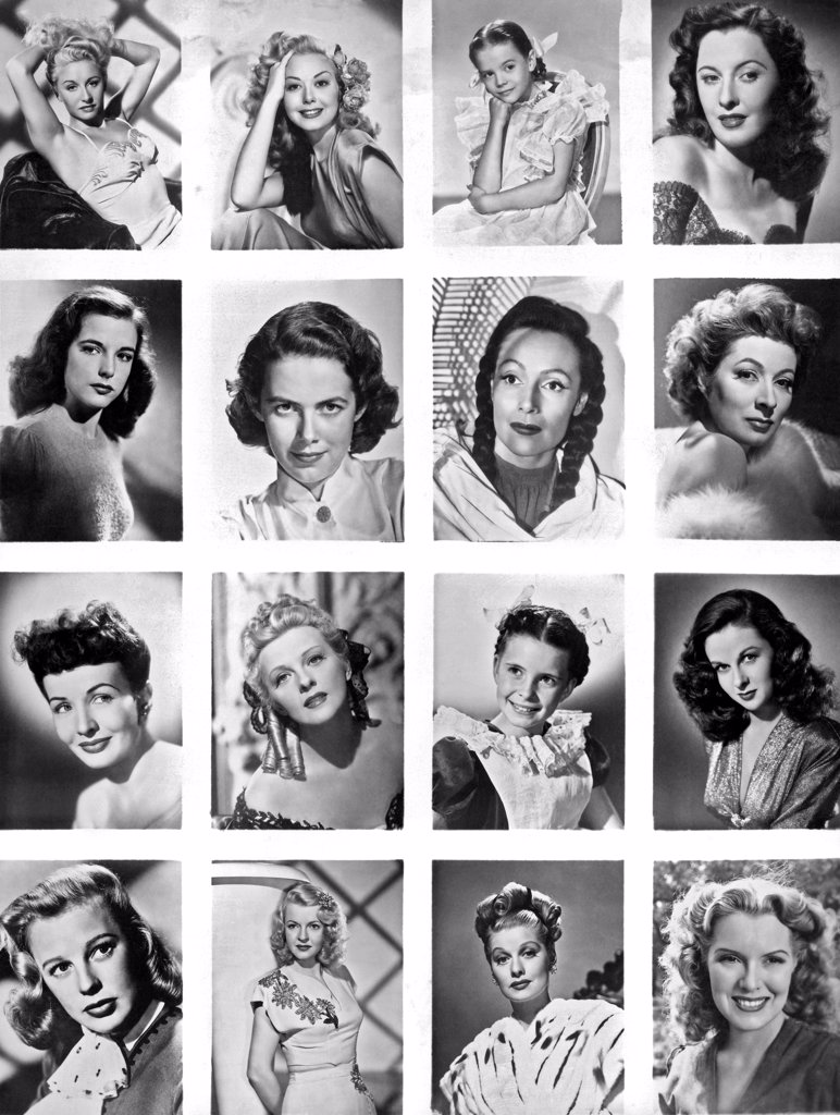Stock Photo: 1035-11644 Hollywood, California: c. 1945 A collage of head shots of of 16 movie starlets showing their hair styles.