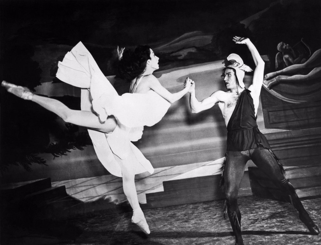 Chicago, Illinois:  November 29, 1944. A scene from a ballet with Tamara Toumanova and Richard Reed of the Russian Ballet while appearing in Chicago. : Stock Photo
