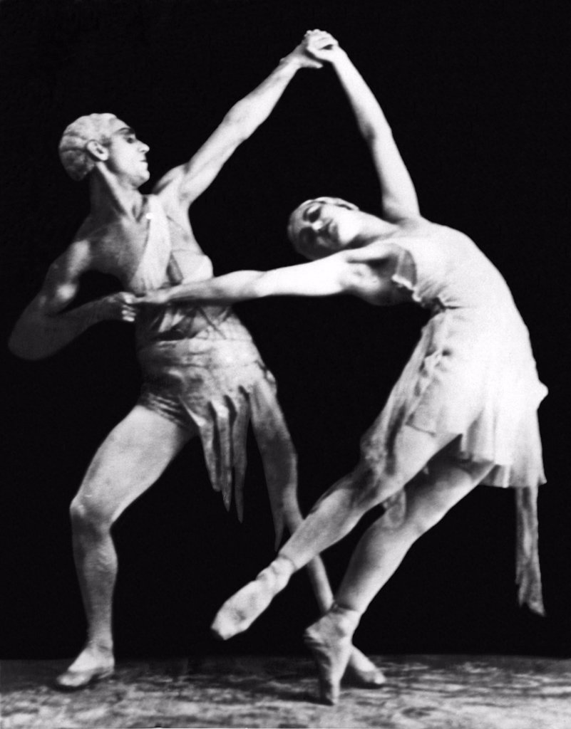 Moscow, Russia:  April 27, 1936. Asaf and Sulamith Messerer of the Moscow Opera Ballet will make their American debut next winter in New York City with dances from 'Salambo', 'The Red Poppy', 'Don Quixote', 'Flame of Paris', and other new Soviet ballets. This pose is from the 'Flame of Paris'. : Stock Photo
