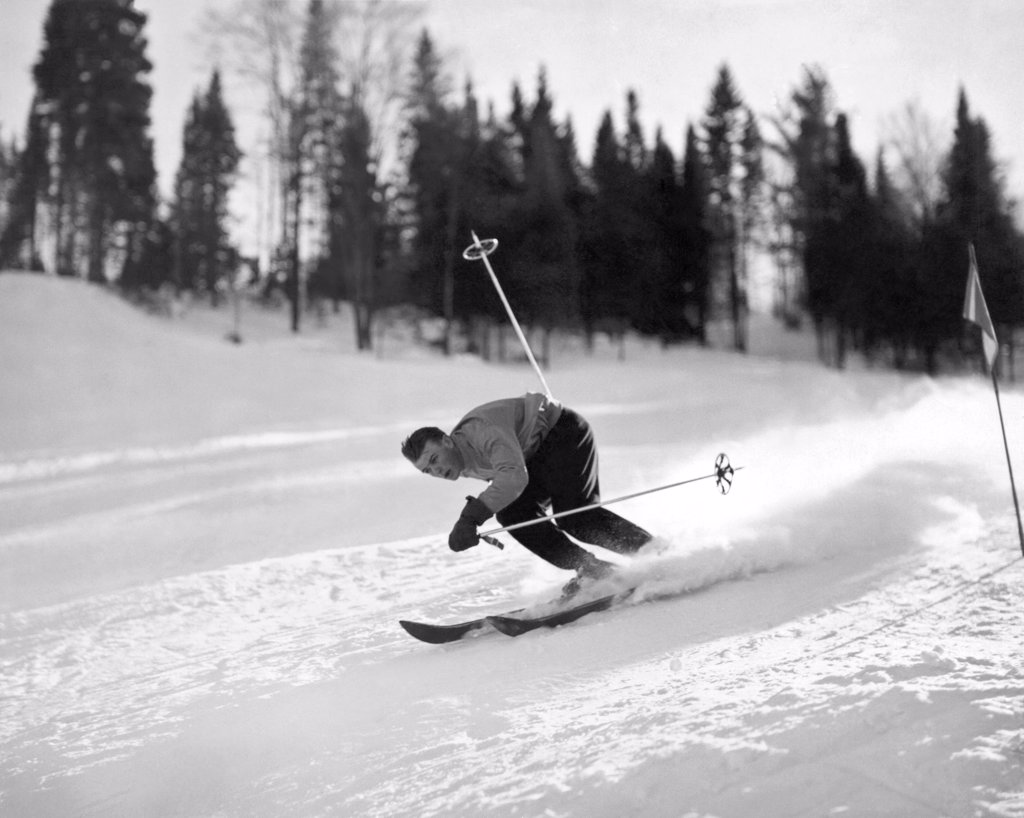 Mont St. Sauveur, Quebec, Canada:  c. 1948. This great slope, known as 'Hill 70' is  famous for its snow depth and texture and is a favorite amongst the North American skiing fraternity. : Stock Photo