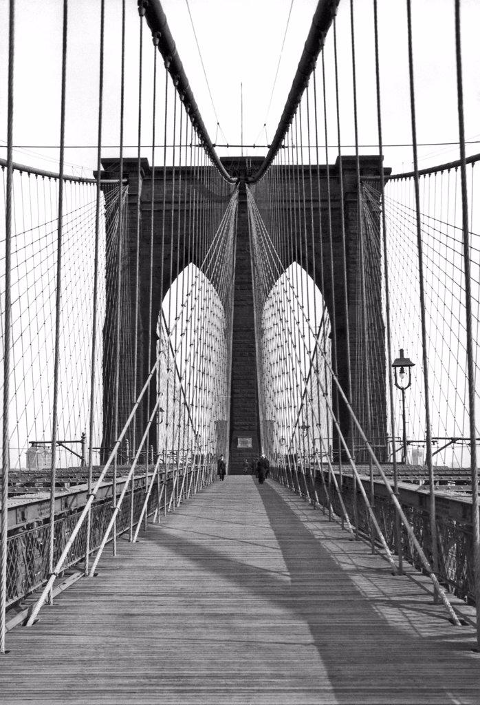 Stock Photo: 1035-11960 New York, New York:  c. 1923. The Brooklyn Bridge which spans the East River between Manhattan and Brooklyn.