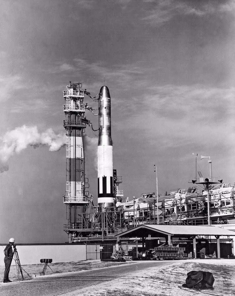 Stock Photo: 1035-12216 Cape Canaveral, Florida:   February 6, 1959. A Titan missile, the Air Force's newest intercontinental ballistic missile for the Strategic Air Command (SAC), is readied for a test launching.