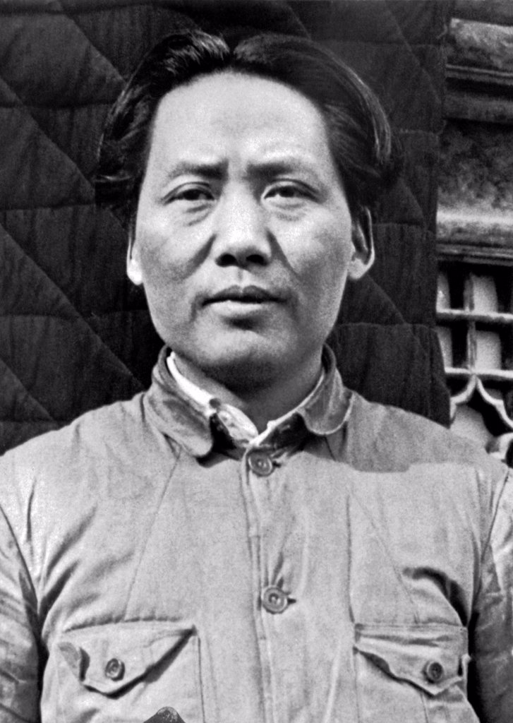 China:  March 7, 1938 General Mao Tse-Tung, now one of Generalissimo Chiang Kai-Shek's most valuable lieutenants. : Stock Photo