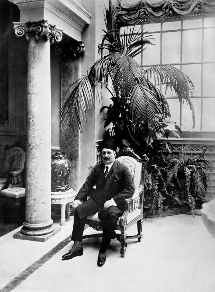 Cairo, Egypt:   November 26, 1924 The King of Egypt, Sultan Ahmed Fuad, in the Conservatory of the Abdin Palace in Cairo. He is the first king of Egypt since the days of Pharoah. : Stock Photo