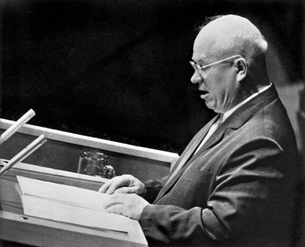 New York, New York:  September 23, 1960 Russian Premier Nikita Khrushchev speaks to the United Nations General Assembly in New York. : Stock Photo