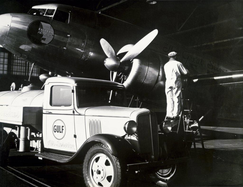 Stock Photo: 1035-178 Airplane refueling
