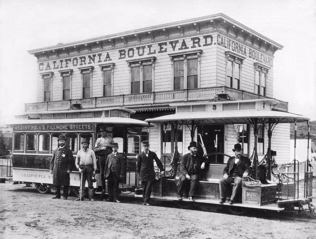 Stock Photo: 1035-20591399 San Francisco, California:  c. 1890The California Street cable car that made stops at Kearny, Polk and Filmore Streets.