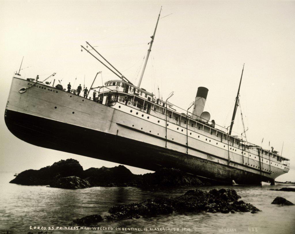 Stock Photo: 1035-498 CPR Princess May Shipwreck Sentinel Island  Alaska, USA  August 5, 1910
