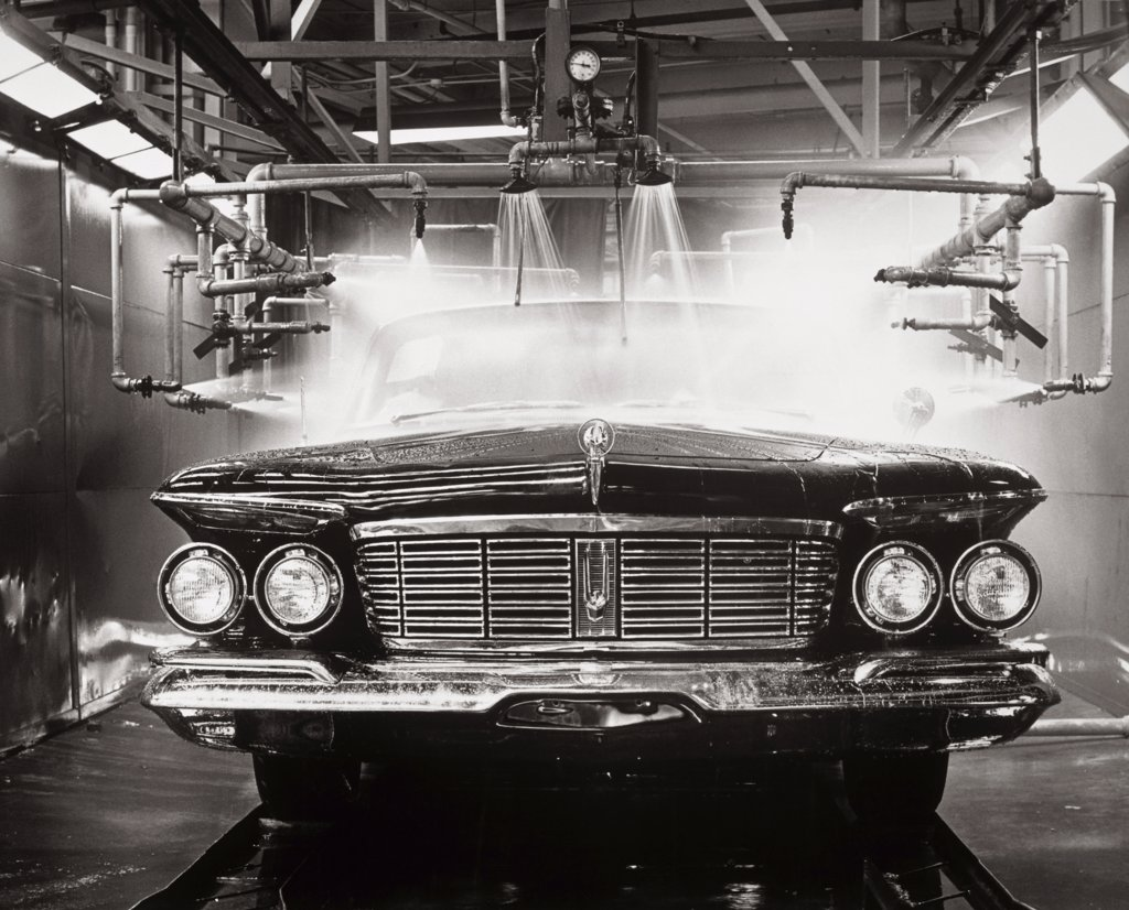 Stock Photo: 1035-659 Quality control water test of a new car at an assembly line, 1963
