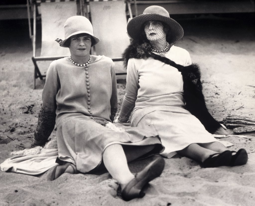 Stock Photo: 1035-672 Palm Beach, Florida: January 31, 1926. A New York society matron and her daughter practice relaxing on a Florida beach.