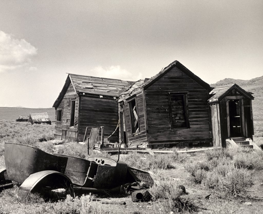 Stock Photo: 1035-694 Run down house in a field, Bodie State Historic Park, Ghost Town, California, USA