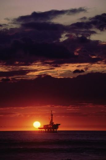 Stock Photo: 104-366A Offshore Oil Rig Huntington Beach California USA