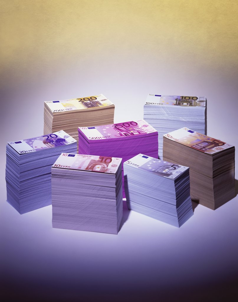 Stock Photo: 1042-10285A Stacks of euro banknotes