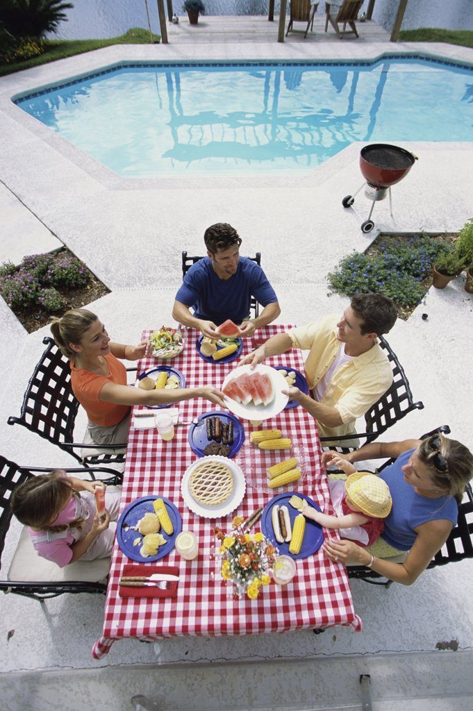 High angle view of a family at a picnic : Stock Photo