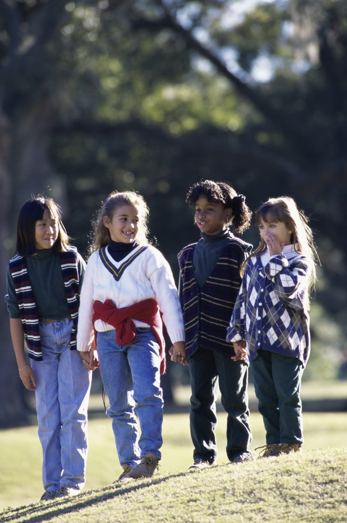 Stock Photo: 1042-334A Group of girls standing together on a lawn