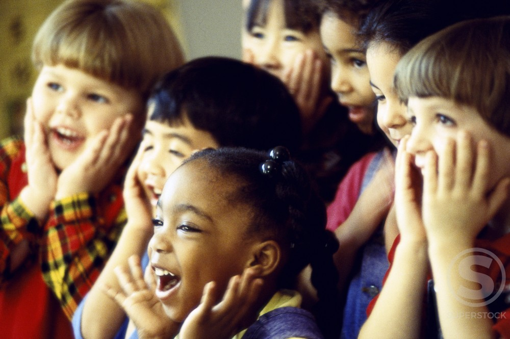 Stock Photo: 1042-3410A Group of children making faces