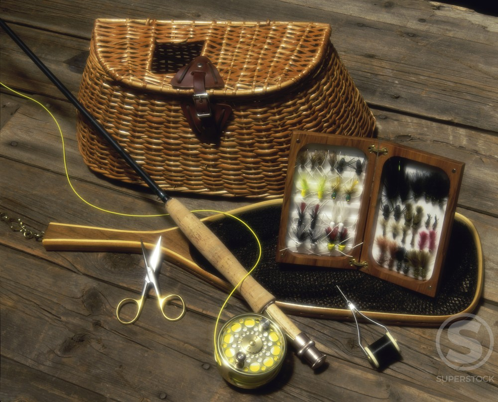 Stock Photo: 1042-9136A Close-up of fly fishing tackle