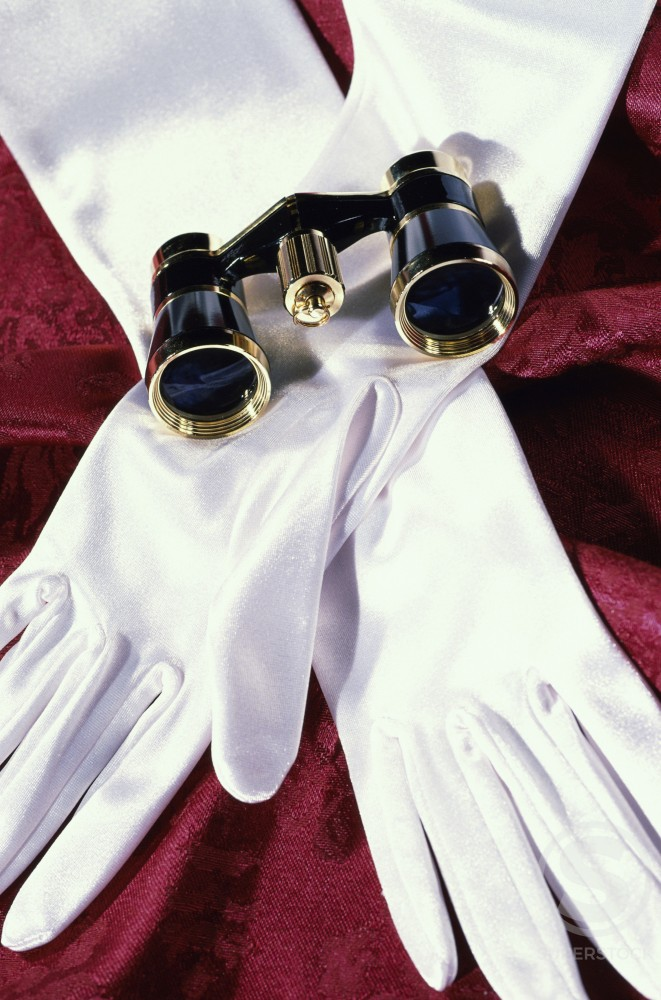 Pair of gloves and binoculars : Stock Photo