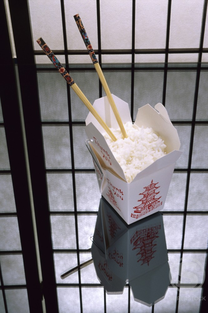 White rice in a takeout box : Stock Photo