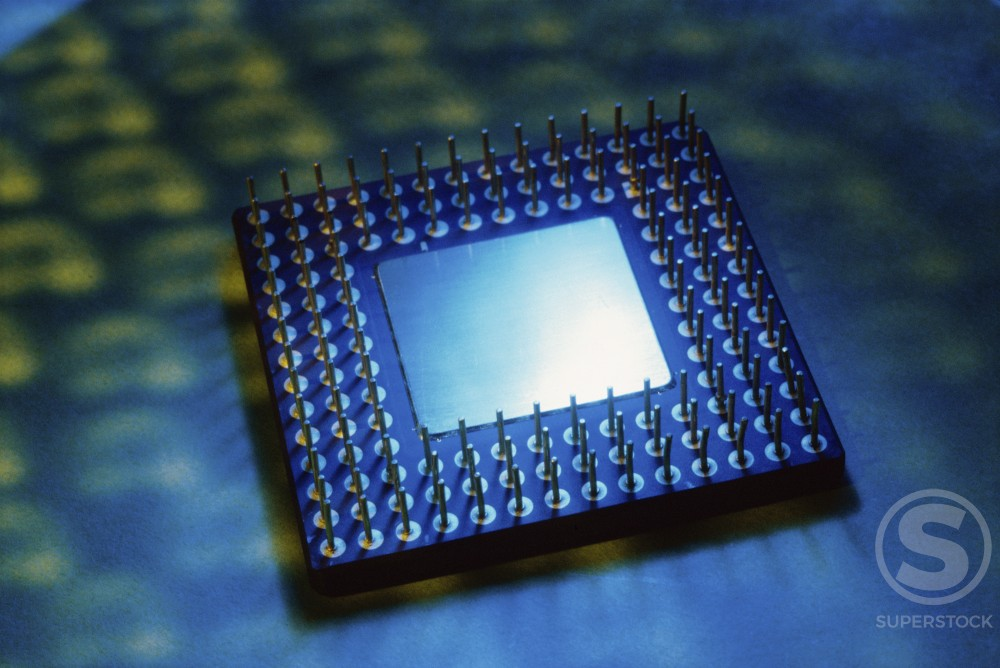 Stock Photo: 1042R-9339A Close-up of a computer chip