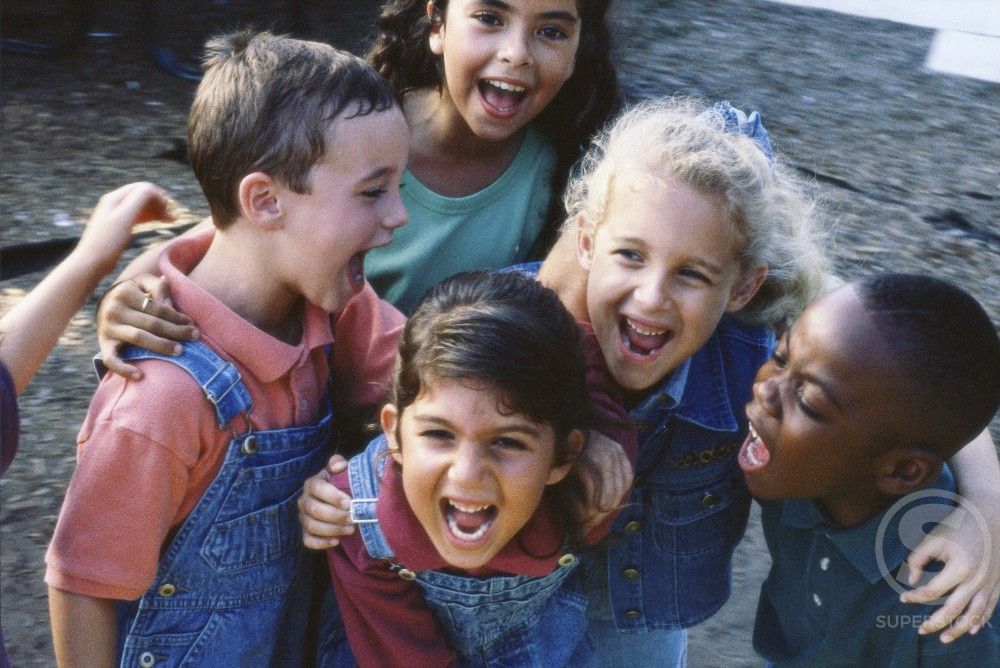 High angle view of a group of children laughing : Stock Photo