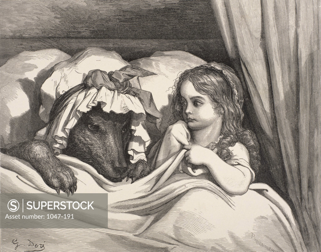 Stock Photo: 1047-191 Little Red Riding Hood  Gustave Dore (1832-1883 French) Engraving