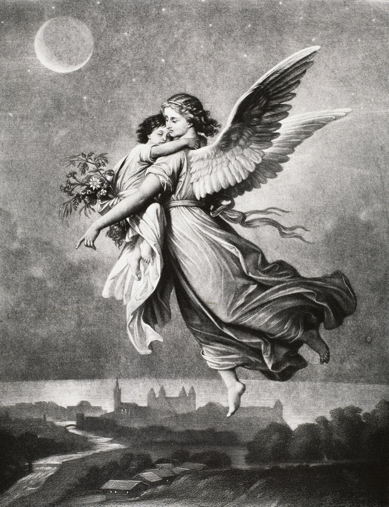 The Guardian Angel From the Painting by Wilhelm von Kaulbach