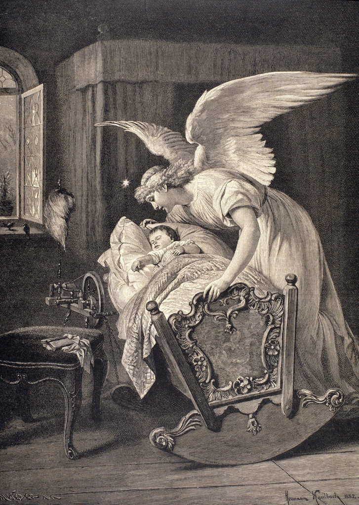 Guardian Angel, the Engraving from a Painting by Hermann Kaulbach  Engraving M. Weber  : Stock Photo
