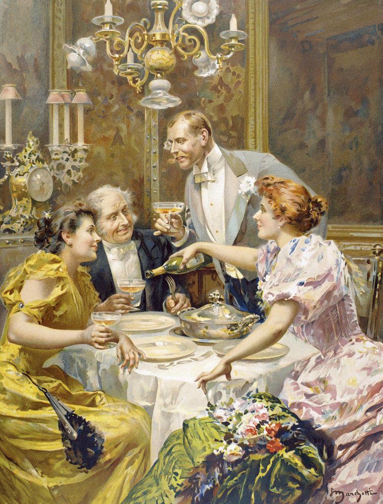An Elegant Dinner 19th century illustration Stock Photo ...