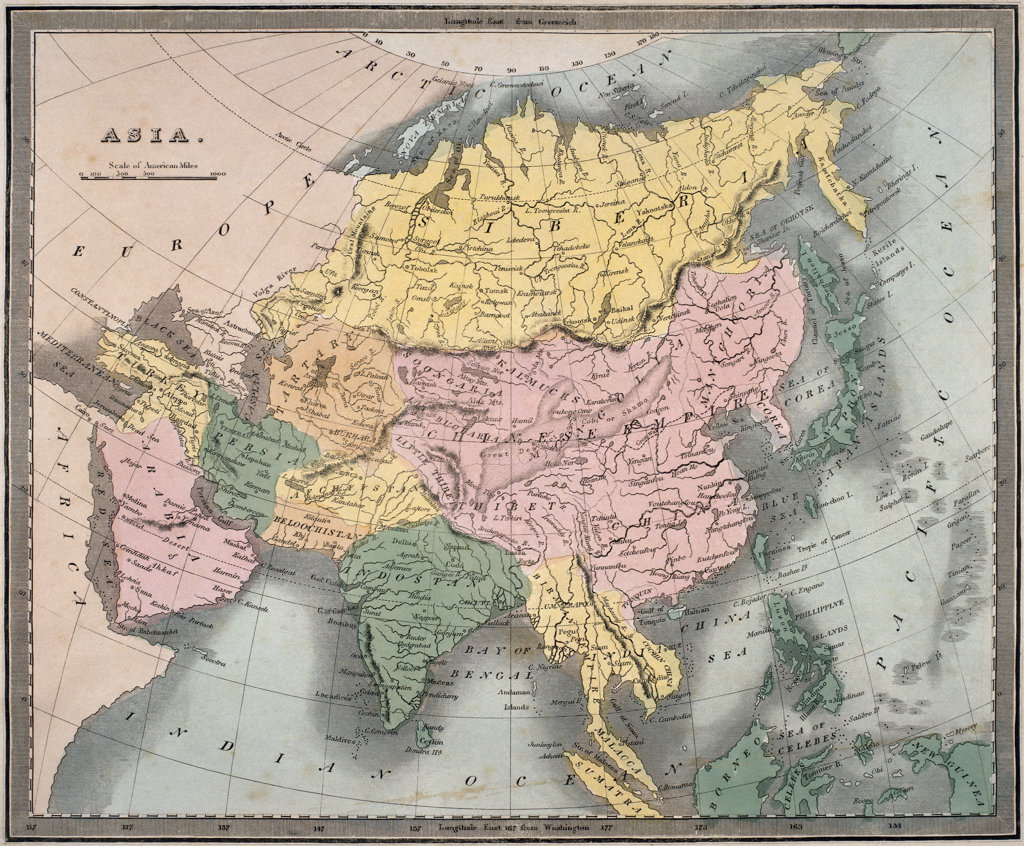 Map of Asia, C. 1835  : Stock Photo