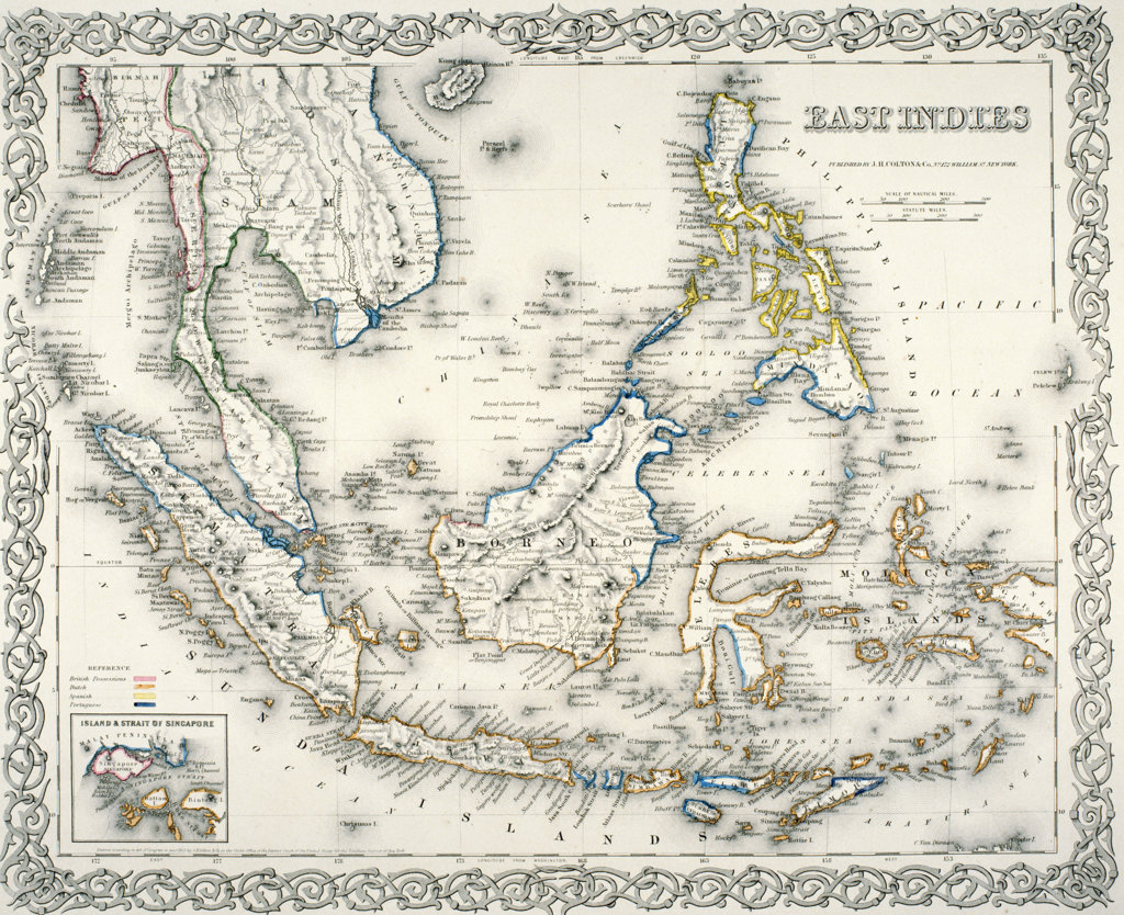 Map of East Indies,  by J.H. Colton and Co.,  1855 : Stock Photo