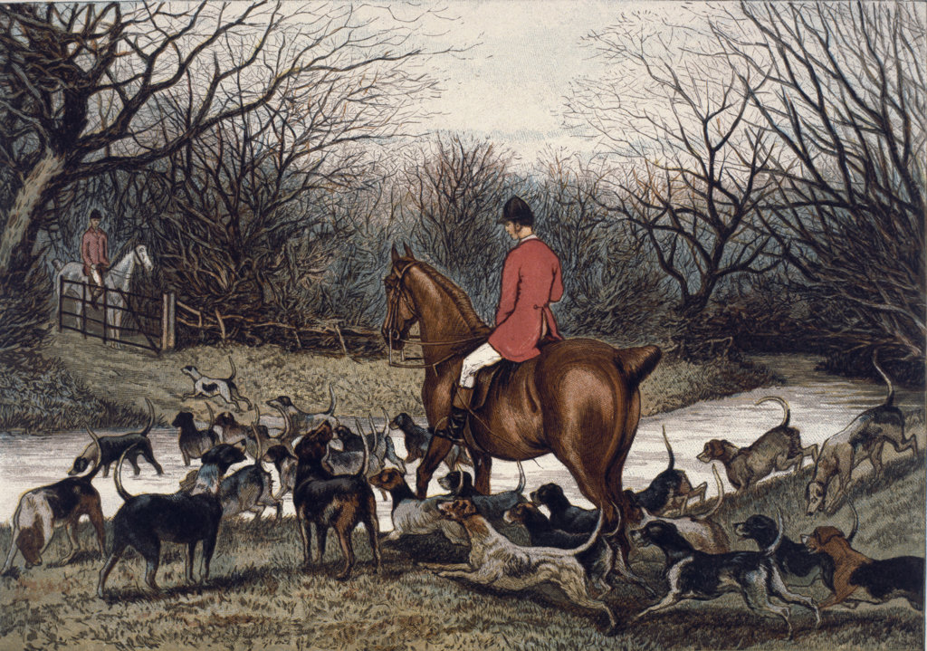 Fox hunt by unknown artist, circa 1886 : Stock Photo