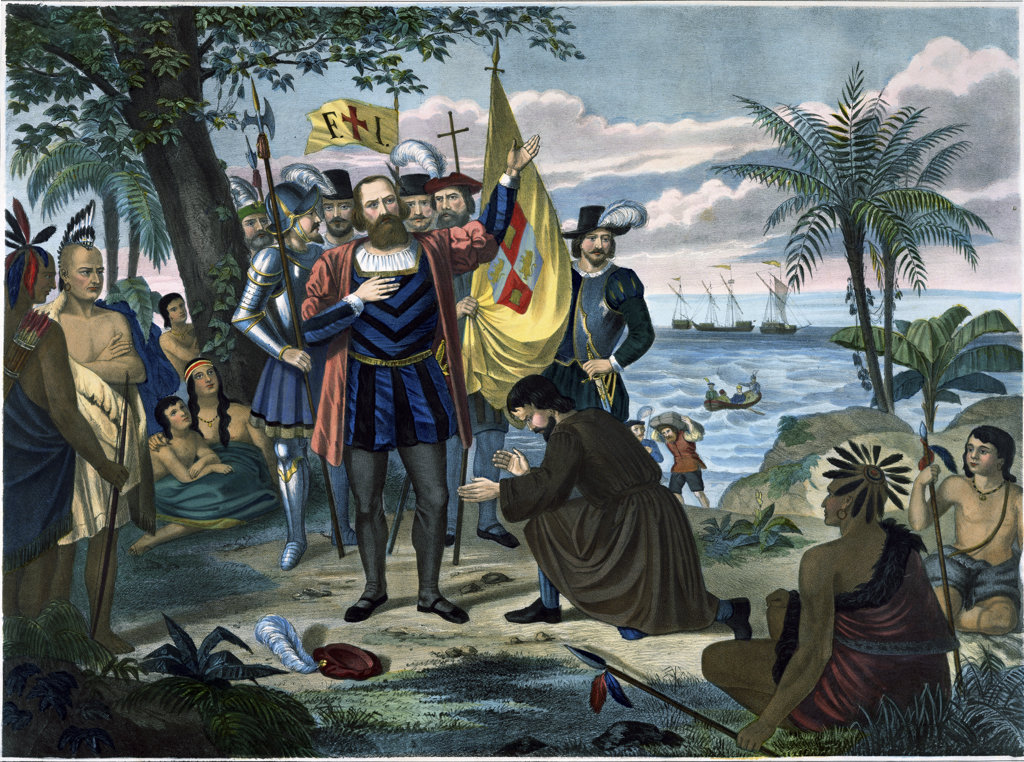 Stock Photo: 1047-249 The Landing of Christopher Columbus in America in 1492