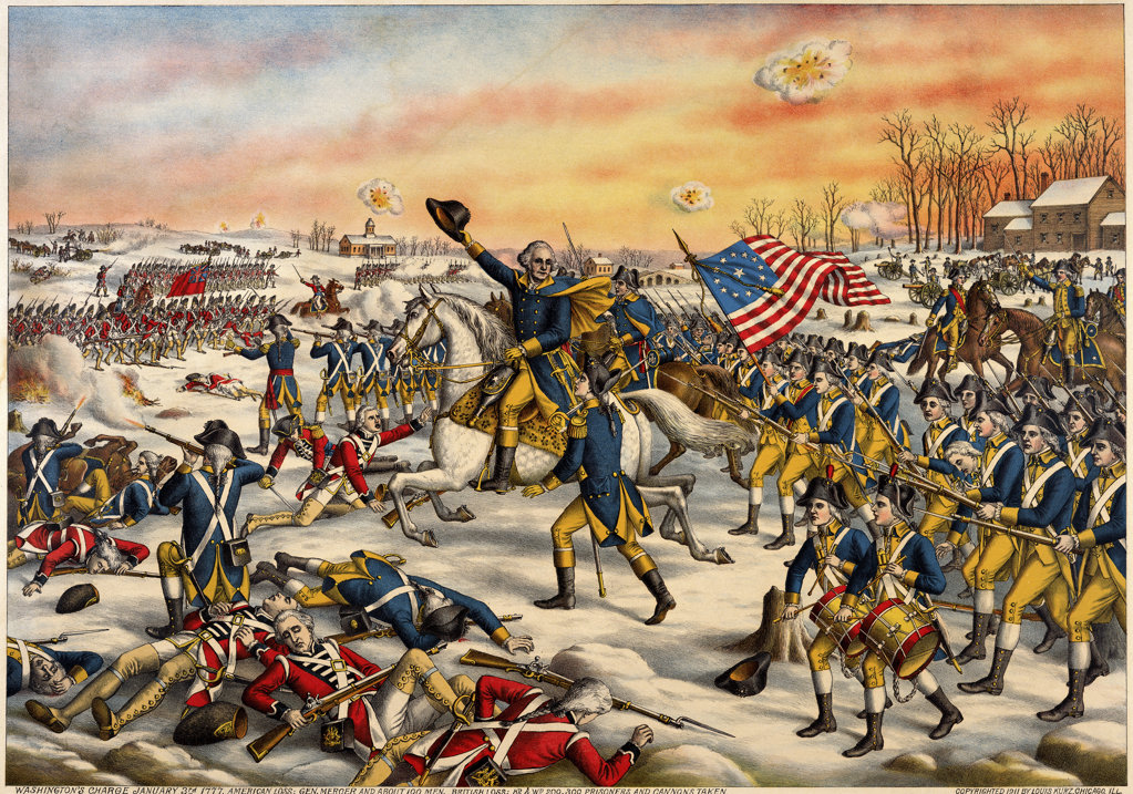 Stock Photo: 1047-250 Washington's Charge at the Battle of Princeton, January 3, 1777 - Revolutionary War  American History Artist Unknown