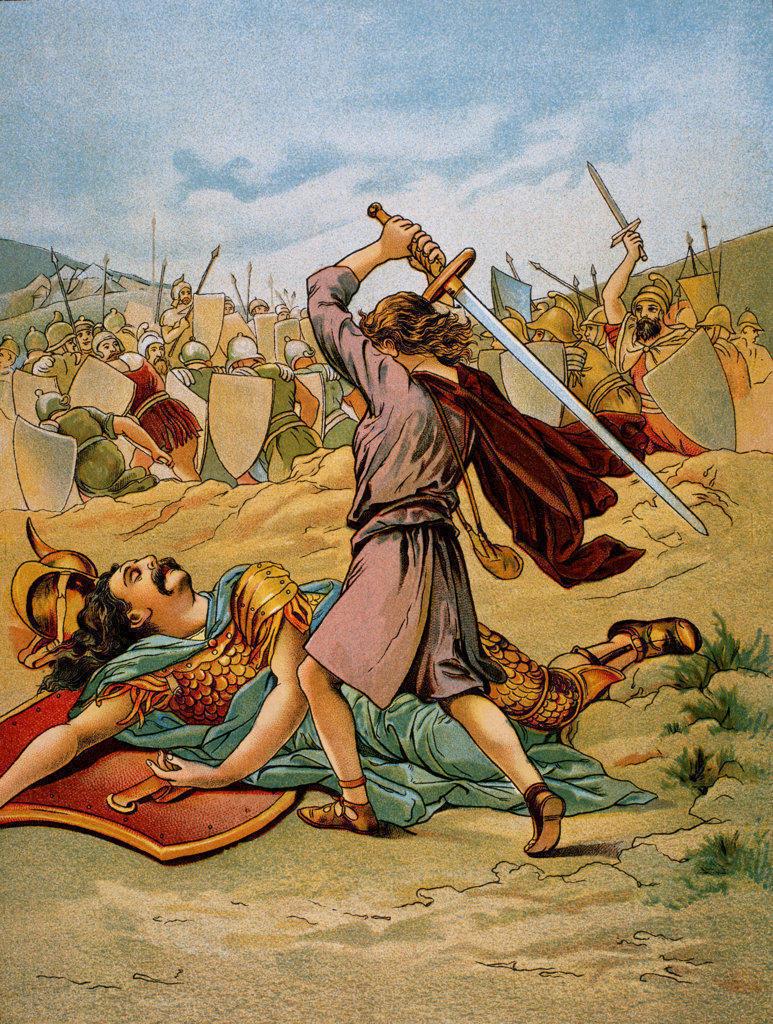 Stock Photo: 1047-300 The Power Of The Pebble - David Kills The Giant Goliath  Artist Unknown  Stock Montage, Inc.