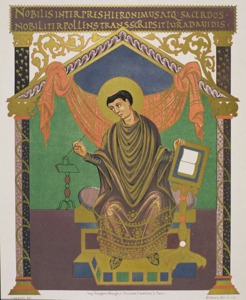 Saint Jerome (C. 347-419/420) Latin Church Father Artist Unknown Illustration : Stock Photo