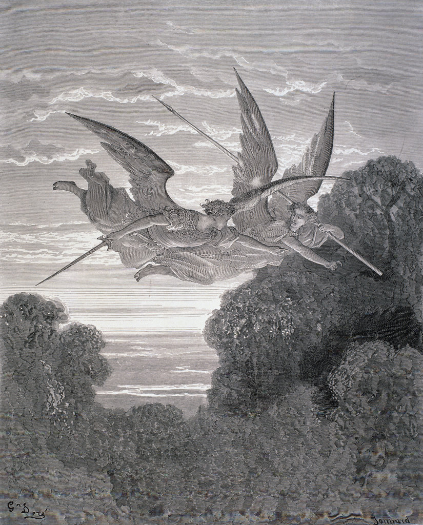 """Stock Photo: 1047-626 Angels Ithuriel And Zephon Watch Over Paradise (From Milton's """"Paradise Lost"""") Gustave Dore (1832-1883 French) Engraving"""