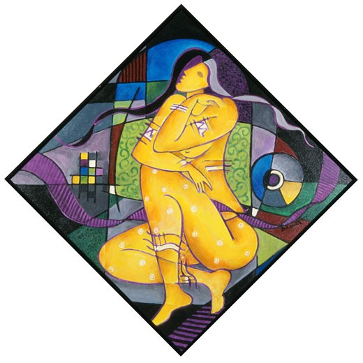Rhythmic Repose I Bharati Chaudhuri (b.1951 Indian) Acrylic on canvas : Stock Photo
